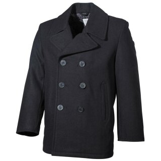 Jacke US Pea Coat mit schwarzen Knöpfen (Schwarz,S)